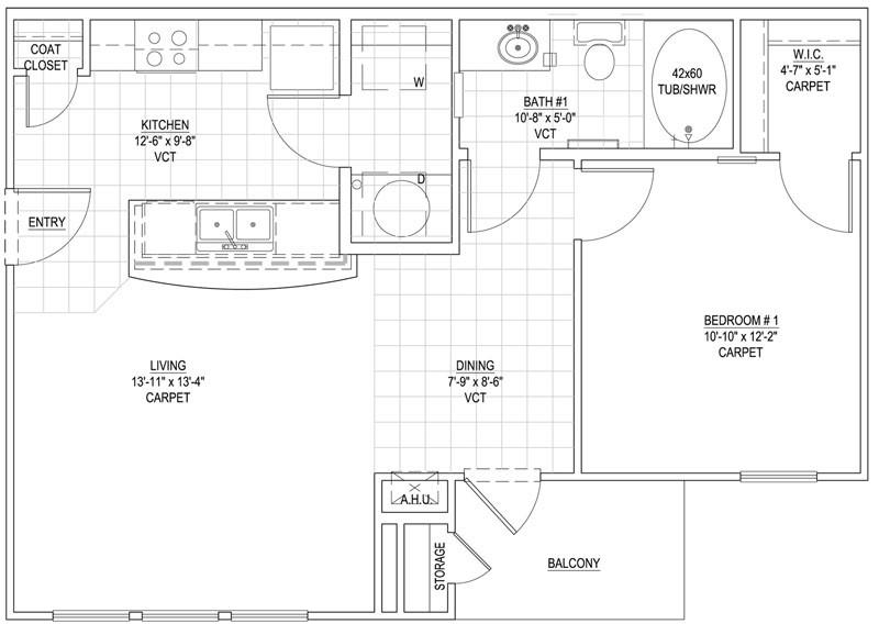 674 sq. ft. 50% floor plan