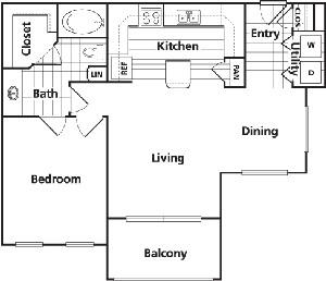 779 sq. ft. B3 floor plan
