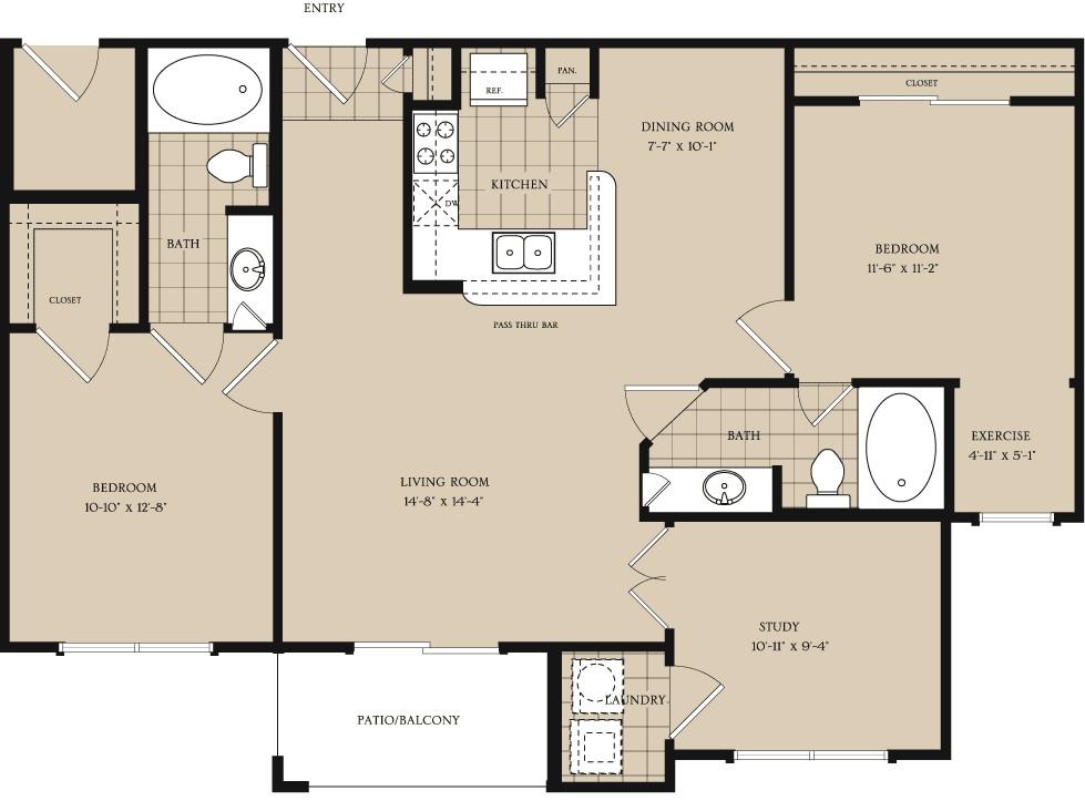 1,126 sq. ft. B2 floor plan