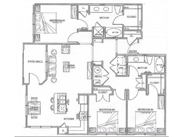 1,372 sq. ft. C1 floor plan