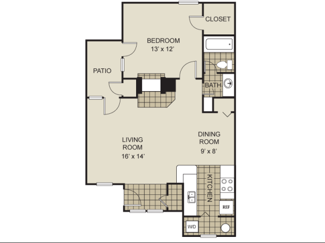760 sq. ft. A10-C floor plan