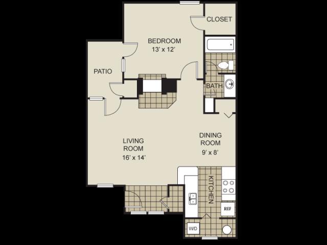 760 sq. ft. A10-C floor plan