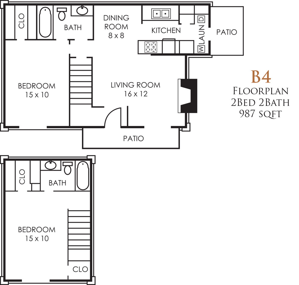 987 sq. ft. B4TH floor plan