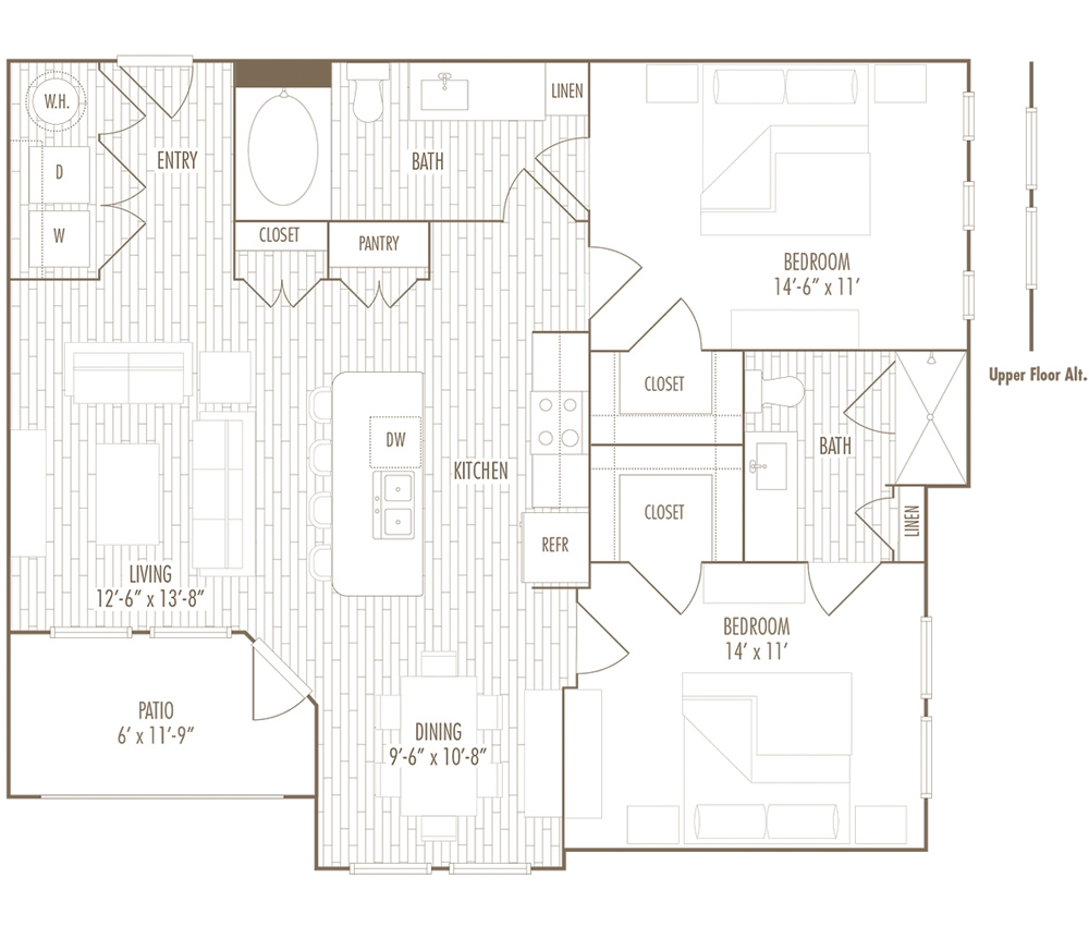 1,078 sq. ft. C floor plan