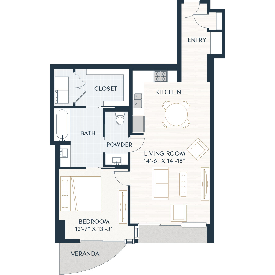 976 sq. ft. A5 floor plan