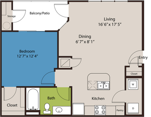 752 sq. ft. A3 floor plan