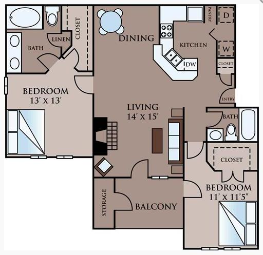 1,130 sq. ft. C floor plan