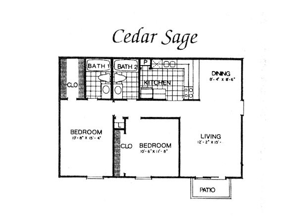 900 sq. ft. II B1 floor plan
