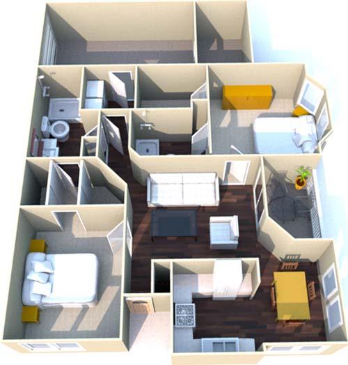 1,117 sq. ft. E floor plan