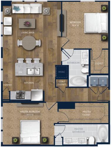 1,210 sq. ft. B2 floor plan