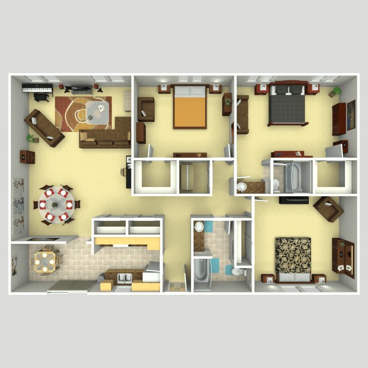 1,668 sq. ft. C1 floor plan