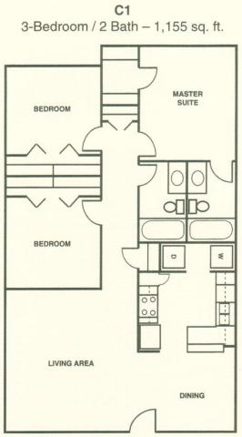 1,155 sq. ft. C1 floor plan