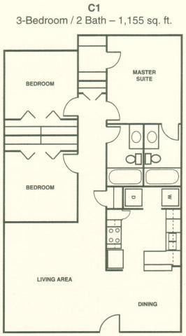 1,155 sq. ft. C1 floor plan