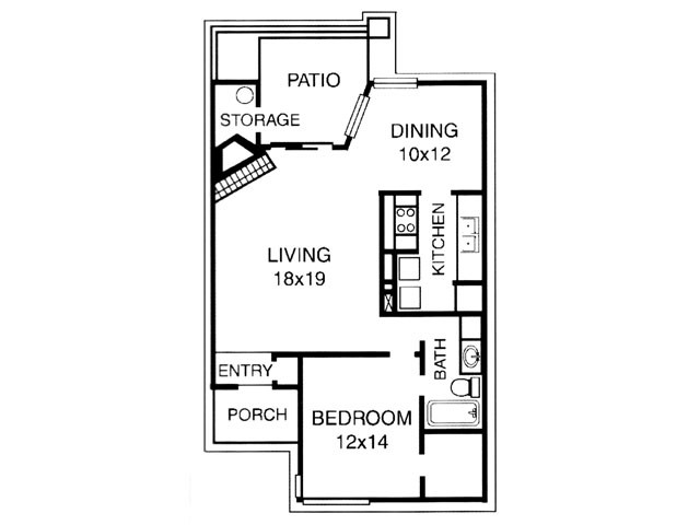 865 sq. ft. A floor plan