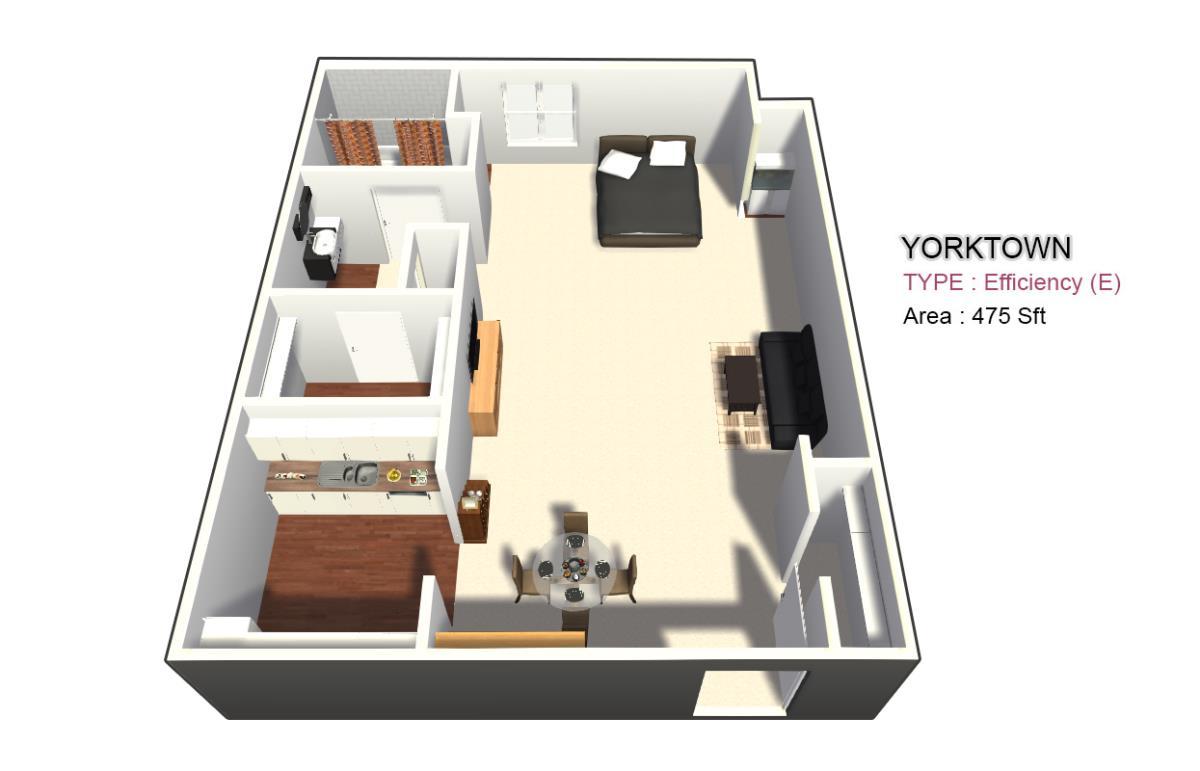 525 sq. ft. 1X1 floor plan