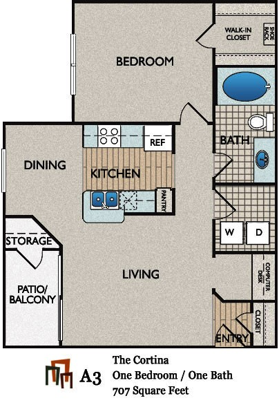 707 sq. ft. Cortina floor plan