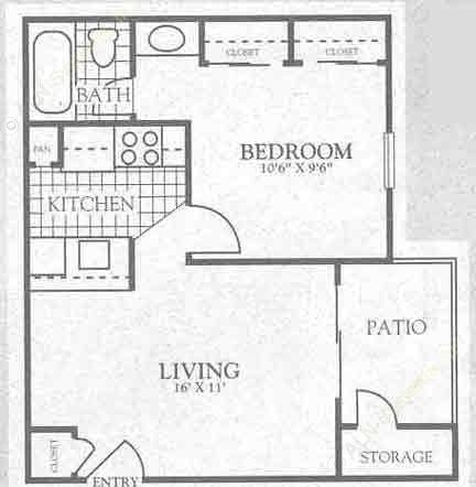 485 sq. ft. 2A1 floor plan