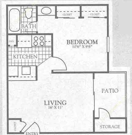 485 sq. ft. 2A1 floor plan