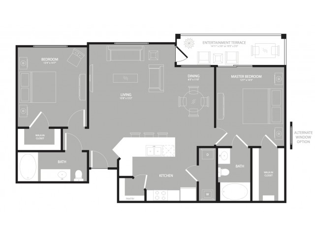 1,170 sq. ft. Midtown floor plan
