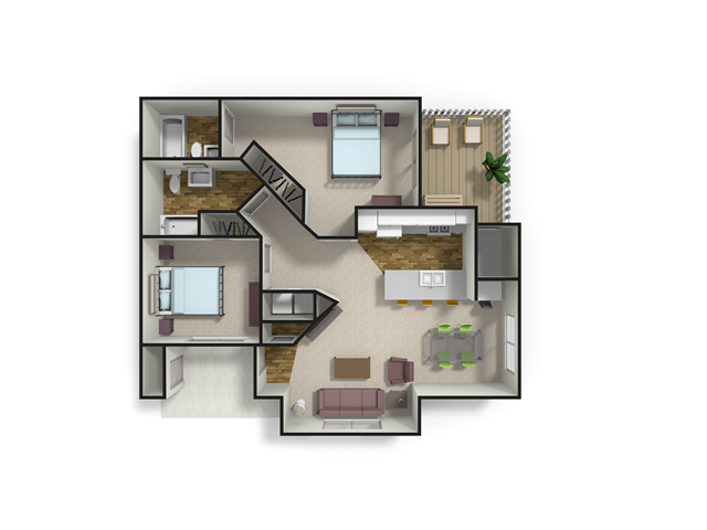 1,035 sq. ft. CYPRESS floor plan