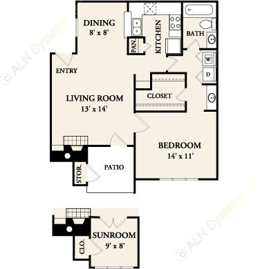 804 sq. ft. A3 floor plan