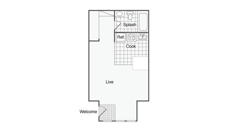 422 sq. ft. Villa 1 floor plan