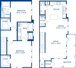 1,442 sq. ft. B4 floor plan