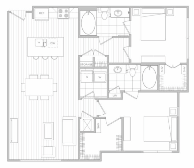 1,169 sq. ft. I floor plan