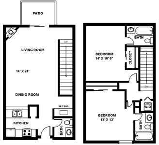 1,156 sq. ft. D Knight floor plan
