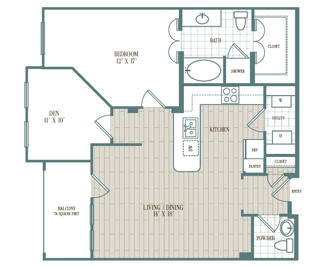 959 sq. ft. Buena Vista floor plan