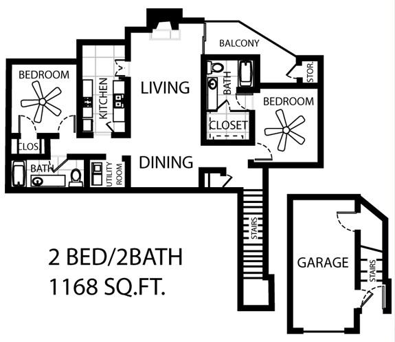 1,168 sq. ft. B4-GAR floor plan