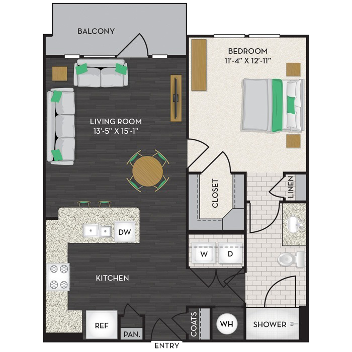 750 sq. ft. A2A floor plan