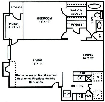 750 sq. ft. A-3 floor plan