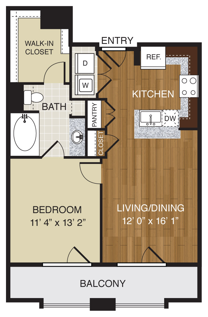 699 sq. ft. A1.1 floor plan