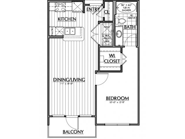 633 sq. ft. A1.1 floor plan