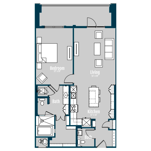 1,088 sq. ft. A10 floor plan