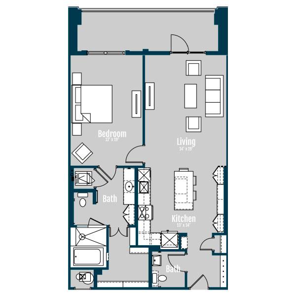 1,088 sq. ft. A10 floor plan