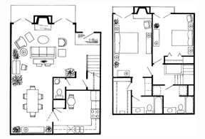 1,537 sq. ft. M Townhome floor plan