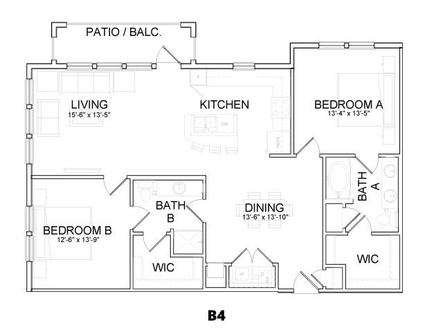 1,271 sq. ft. B4 floor plan