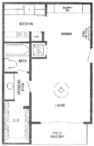 400 sq. ft. AA floor plan
