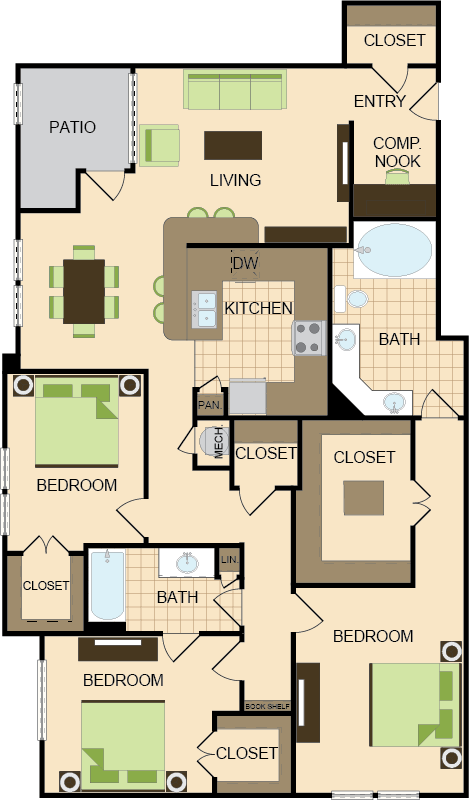 1,567 sq. ft. G1&G2 floor plan
