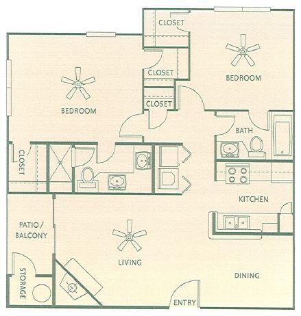 949 sq. ft. B1 floor plan
