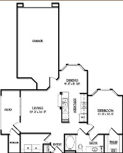 770 sq. ft. Saratoga floor plan