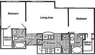 826 sq. ft. 60% floor plan