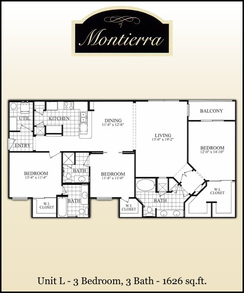 1,626 sq. ft. L floor plan