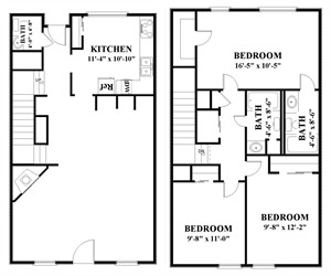 1,497 sq. ft. I2 floor plan
