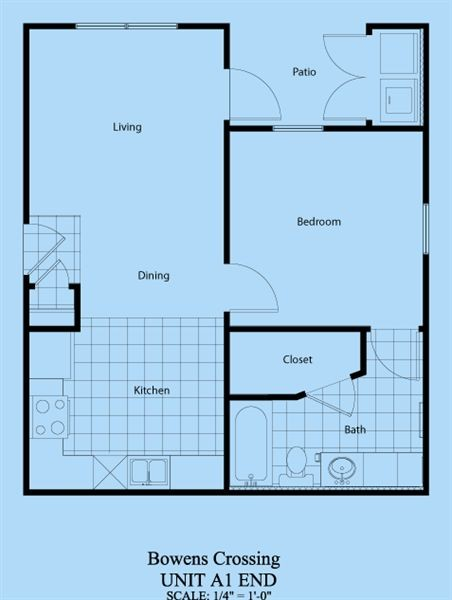 587 sq. ft. A-1 floor plan
