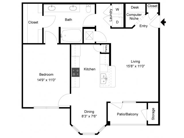 841 sq. ft. Taos floor plan