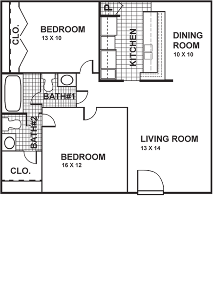 910 sq. ft. 2/1.5 floor plan