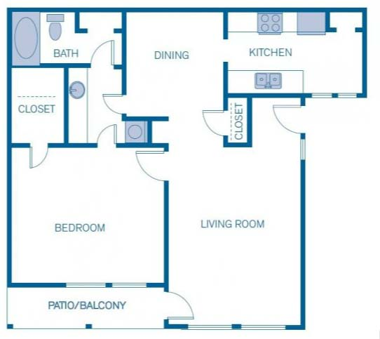 891 sq. ft. 1C floor plan